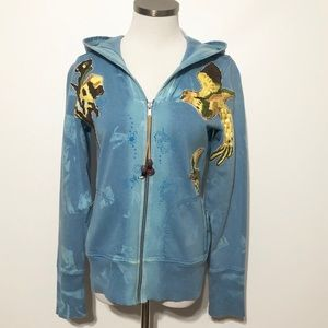 Free People Embroidered Yellow Bird Zip Up Hoodie